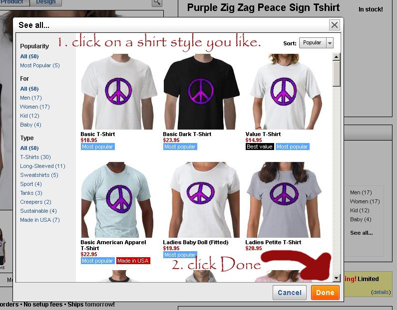 Shirt style selection window