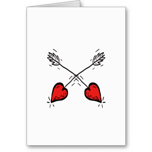 Crossed Strawberry Heart Arrows Greeting Card