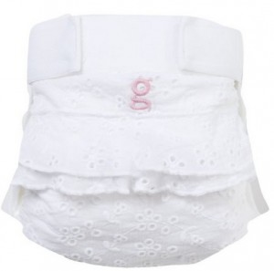 gDiaper frilly white with pink g
